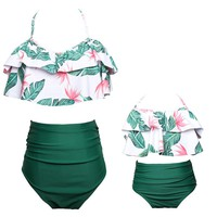 Mom and Daughter Swimsuit Family Matching Swimwear Mermaid Floral Family Look Mother and daughter Bikini Clothes Outfit Women