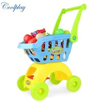Coolplay CP1805 Children Play House Toys Simulation Supermarket Shopping Cart Mini trolleys with Fruit Vegetable Kitchenware