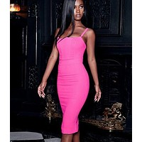 Pink Spaghetti Strap Bandage Dress