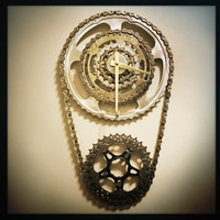 Bicycle Clock, Steampunk Gift, Cyclist Gift For Men, Steampunk Wall Clock, Shimano Clock, Unique Wall Clock, Industrial Modern Decor