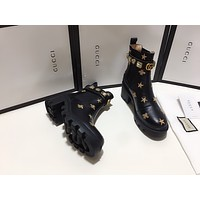 Gucci2021 Trending Women's men Leather Side Zip Lace-up Ankle Boots Shoes High Boots08270gh
