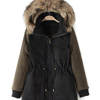 Black Color Block Zip Detail Faux Fur Trims Hooded Parka