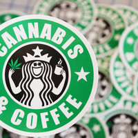 Cannabis & Coffee Sticker... Weed and Coffee sticker... Starbucks weed and coffee... Starbucks Cannabis and Coffee...