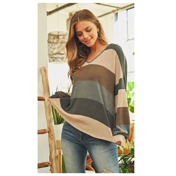 Limited Time Sale! Adorable V Neck Multi Blue Taupe Striped Top!
