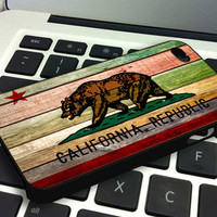 California Republic State Flag Wood - Personalized Case for iPhone 4/4s, 5, 5s, 5c, Samsung S3, S4