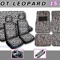 New Premium Grade 15 Piece HOT Leopard Cheetah Zebra Camo Sexy Love Animal Heart Print Pink White Grey tan Purple Auto Car Truck Suv Low Back Front with Headrest and Rear Seat Covers Set with Steering Wheel Cover, Seat Belt Covers, 4pc Floor Mats Combo:Ama