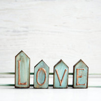 LOVE Sign Home Decor Wooden Sign Rustic Shabby Wooden Decor Mint Copper
