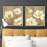 Golden White Flower Canvas Art Magnolia Painting Poster Print Bedroom Decorative Wall Art decorative pictures cuadros modernos