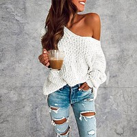 Long Sleeve Casual Off The Shoulder Knitted Sweater