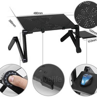 Adjustable Foldable Stand Portable Laptop Notebook Desk Table Bed Tray Dual Fans L Size 2