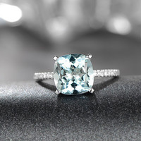 3.01ctw Aquamarine Engagement ring,VS Diamond wedding band,14K Gold,Gemstone Promise Ring,Bridal Ring,IF Blue Aquamarine,Fashion Pave Set