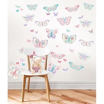 Flutterby Butterfly Large Wall Art Kit 84 Pieces