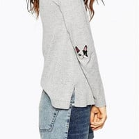 Elbow Embroidered Long-Sleeved Sweater