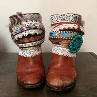 """The """"Crystal"""" - Custom Upcycled Leather Cowboy Boots"""