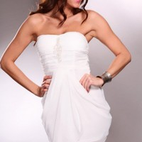 White Faux Satin Sweet Heart Neckline Ruched Decor Sheer Dress @ Amiclubwear sexy dresses,sexy dress,prom dress,summer dress,spring dress,prom gowns,teens dresses,sexy party wear,women's cocktail dresses,ball dresses,sun dresses,trendy dresses,sweater dre