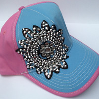 Sequin and Rhinestone Hat - Pink and Blue