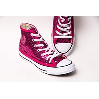 Hot Fuchsia Pink Sequin High Tops