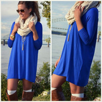 Heaven's Bliss Royal Blue Quarter Sleeve Solid Dress