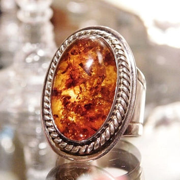 Baltic Amber Ring Sterling Silver Vintage Oval Amber Statement Modernist Ring BOHO Gemstone Gem Huge Chunky Bold Artisan Hand Crafted Ring