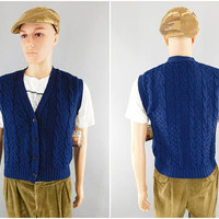 Vintage Pendleton Sweater Vest / Cable Knit Blue Wool / Size Large 40-42 / Made in USA / Preppy Look / Country Traditions / Fall Fashion