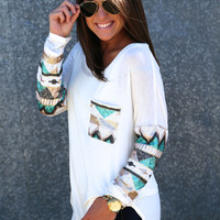 Sequin Glam Tunic {White}