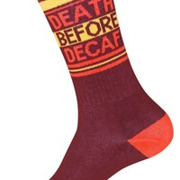 Death Before Decaf Ribbed Unisex Gym Socks in Brown, Orange and Yellow