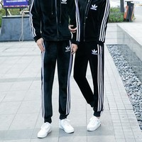 """""""Adidas"""" Lover Unisex Casual Simple Fashion Drawstring Zip Long Sleeve Trousers Set Two-Piece Sportswear"""