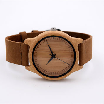 Japanese MIYOTA Movement Wristwatch Genuine Leather Bamboo Wooden Watches For Men And Women Bracelet