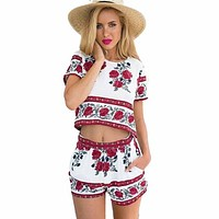 Women Summer Jumpsuit 2016 Floral Printed 2 Piece Jumpsuits Romper Casual Tops And Shorts Set Playsuit Feminino Macacao Overalls