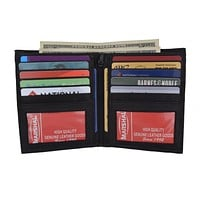 Men's Genuine Leather Bifold Wallet Slim Hipster Cowhide Credit Card and ID