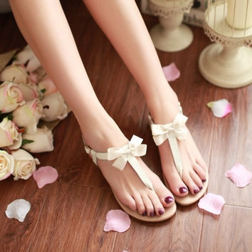 Genuine Leather  Fashion Butterfly-knot Charms Summer Women Flats Sandals Women Shoes   = 4776776836