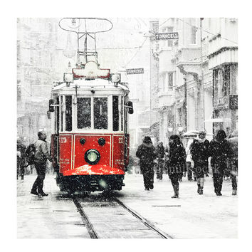 Tram photography - Wall decor - istanbul photography, winter, snow photograph, istanbul photo, red tram, Art Print, 10x15, christmas