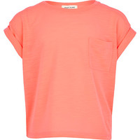 River Island Girls bright pink rolled sleeve t-shirt