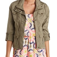 ZIP-UP COTTON MILITARY JACKET