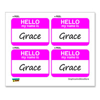 Grace Hello My Name Is - Sheet of 4 Stickers
