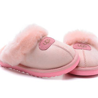 """UGG"" Fashion Women Casual Wool Slipper Shoes Pink"