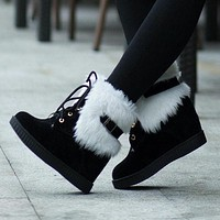 Women's Cute Snow Boots Hidden Wedge Heels Lace-up Fur Lining Ankle Boots