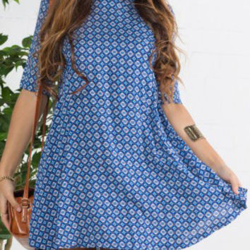 Blue Half Sleeve Floral Print Loose Fitting Mini Dress
