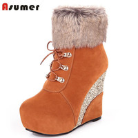 2017 new arrive women shoes hot fashion round toe high heels wedges platform ankle boots unique party ladies winter boots