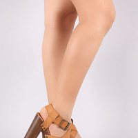 Strappy Studded Faux Wooden Chunky Platform Heel