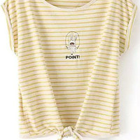Yellow Striped Rabbit Embroidered Knotted Short Sleeve T-Shirt