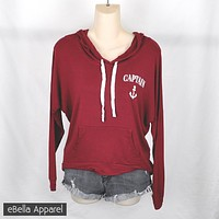 Captain Anchor - Women's Burgundy, High Low, Graphic Print Hoodie Sweatshirt