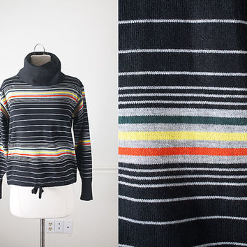 Vintage 70s Sweater / Cowl Neck Slouchy Striped Sweater / Vintage Jumper / Retro Black Turtleneck / 1970s Tunic Top / Rainbow Striped Top