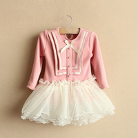 2,3,4,5,6T spring girl dress girl clothes spring fall dress baby girl toddler outwear PINK spring collection