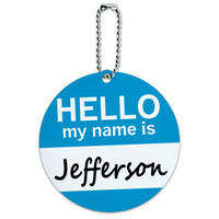 Jefferson Hello My Name Is Round ID Card Luggage Tag