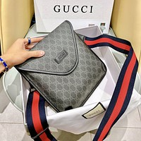GUCCI Fashionable Women Men Shopping Leather Office Shoulder Bag Crossbody Satchel