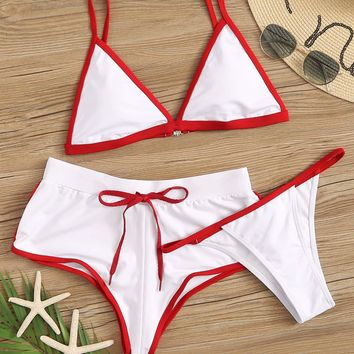 Contrast Piping Triangle Bikini Set 3pack