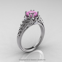 Classic French 14K White Gold 1.0 Ct Princess Light Pink Sapphire Diamond Lace Engagement Ring or Wedding Ring R175P-14KWGDLPS