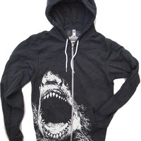 Unisex SHARK Flex Fleece Hoody in Dark Heather Grey - (8 Color Options) American apparel all sizes XS S M L XL