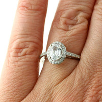 18K White Sapphire Engagement Ring Oval Diamond Halo Setting White Yellow Rose Gold Bridal Jewelry